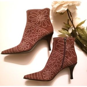 Via Spiga Brown Suede Embroidered Booties Sz 8.5